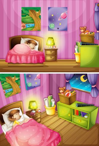 Twee scènes van meisje in de slaapkamer
