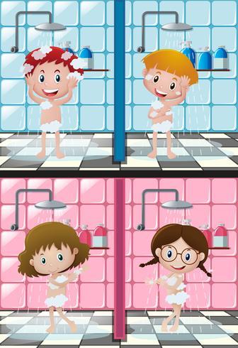 Quattro bambini che fanno la doccia nel bagno