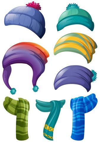 Design diverso di cappelli invernali e sciarpe