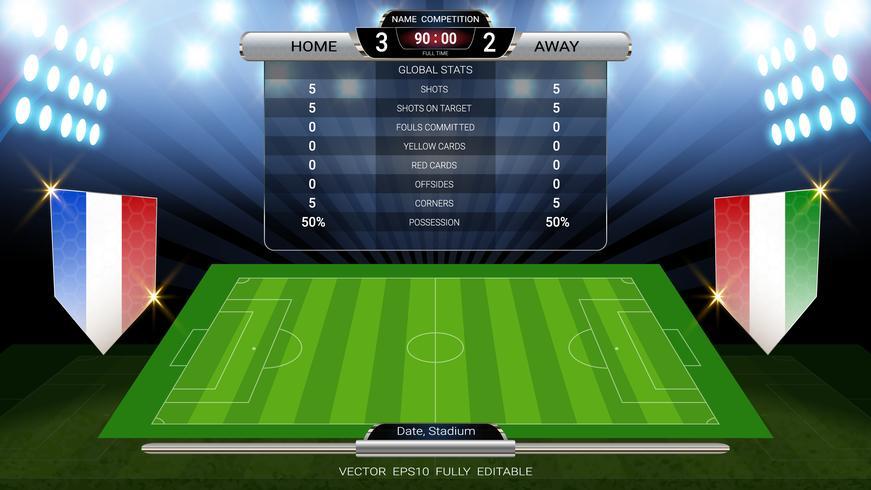 Tableau de bord et terrain de football éclairés par des projecteurs, statistiques mondiales diffusées modèle de football graphique avec le drapeau.