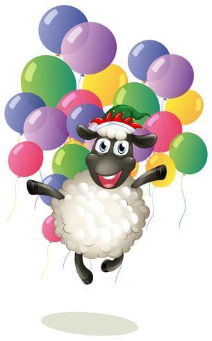 Moutons et ballons colorés