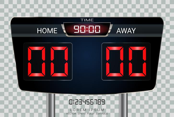 Digital timing scoreboard, Sport soccer and football match Home Versus Away.