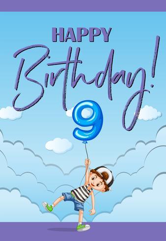 Modello di carta di compleanno per nove anni
