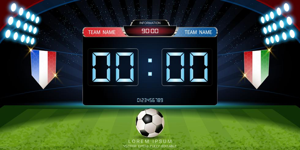 Digital timing scoreboard, Football match with the flag, Strategy broadcast graphic template. vector