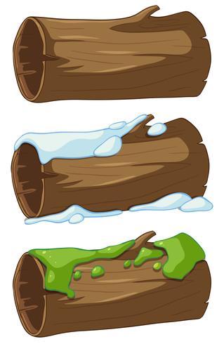 Tronco con nieve y musgo