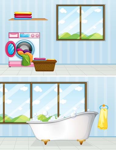 Lavanderia e banheiro vetor