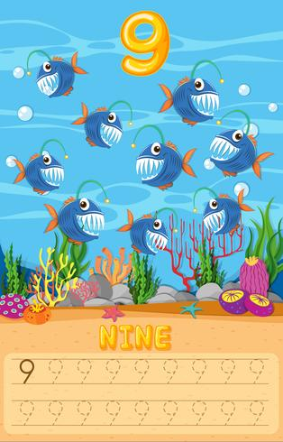 Räkna fisk matematik kalkylblad