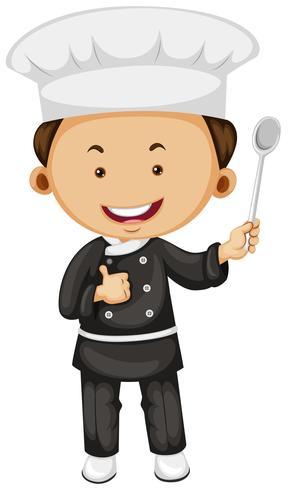 Mannelijke chef-kok met lepel