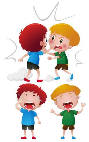 Due ragazzi che combattono e piangono