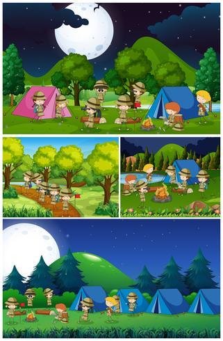 Scènes met kinderen kamperen in het park