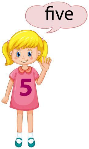 Chica mostrando el número cinco vector