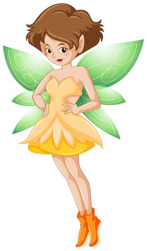 Fairy in yellow costume and green wings