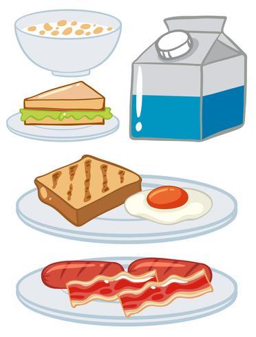 Set ontbijt met ei en melk