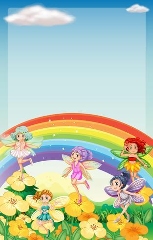 Achtergrondscène met feeën die over regenboog vliegen