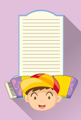 Paper template with boy and accordion