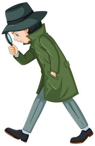 Detektiv im grünen Mantel mit Lupe vektor