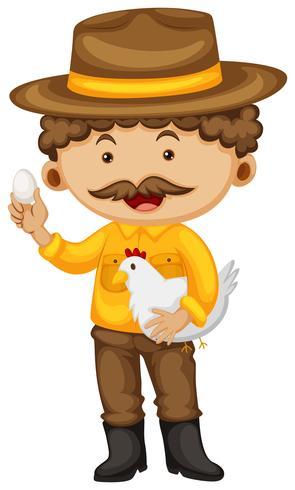 Agricultor segurando frango e ovo
