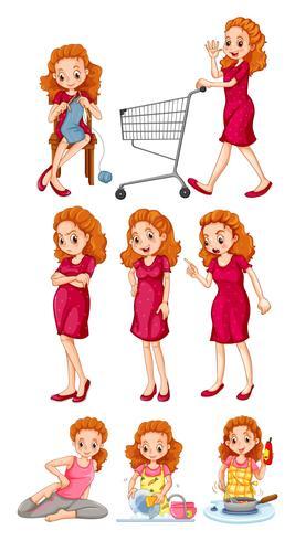 Mulher, fazendo, diferente, atividades