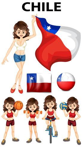 Chile Flagge und Sportlerin