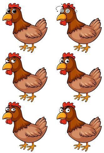 Brun kyckling med olika känslor vektor