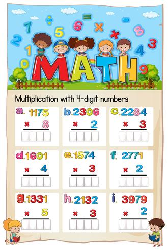 Mathematics Worksheet Multiplication Number Chapter vector