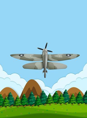 Legervliegtuig die op de hemel vliegen