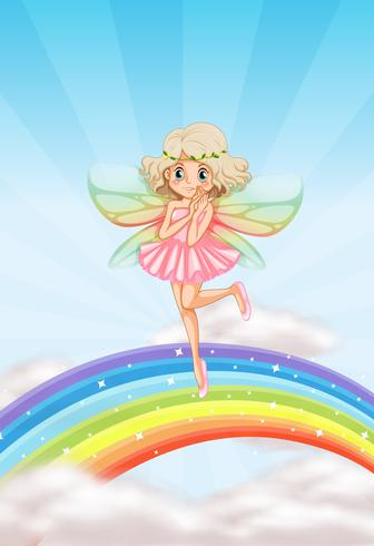 Uma fada fofa no arco-íris