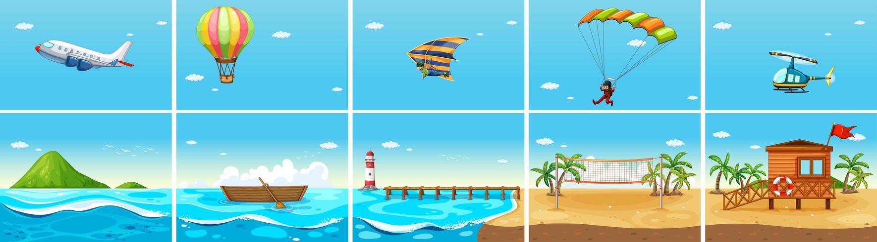 Scena della natura con oceano e spiaggia