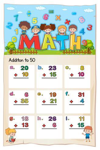 Modèle de feuille de calcul mathématique à ajouter à cinquante