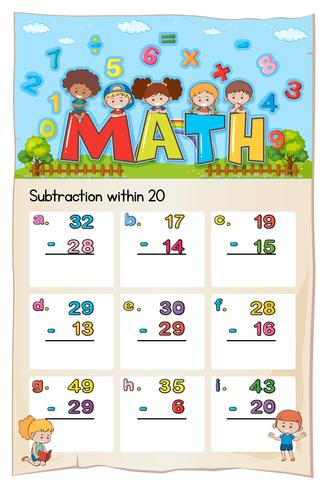 Math worksheet template for subtraction within twenty vector