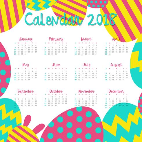 Modello di calendario per il 2018 con uova colorate