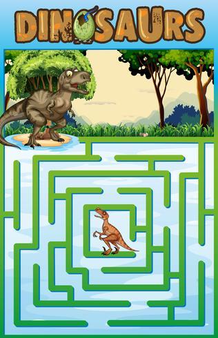 Modello di puzzle con tema di dinosauri