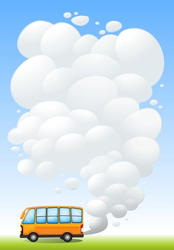 An orange bus emitting smoke