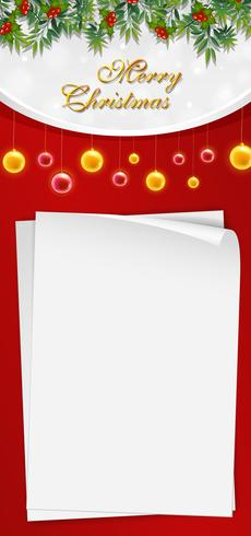 Christmas card template with blank paper and mistletoes