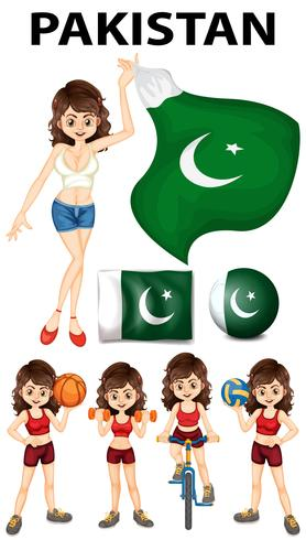 Pakistan flag and many sports