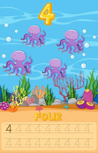 Foglio di lavoro subacqueo di quattro polpi