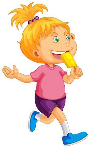 Liten flicka äter popsicle
