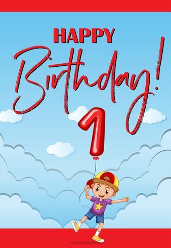 Tarjeta de feliz cumpleaños para niño de un año.