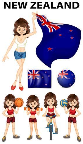 Bandera de Nueva Zelanda y mujer deportista.
