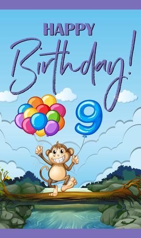 Cartão de feliz aniversário para nove anos de idade