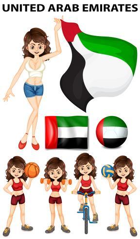 Emiratos Arabes Unidos bandera y deportistas.