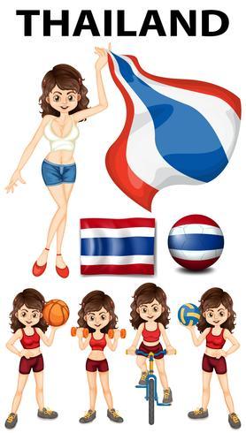 Bandera de Tailandia y mujer deportista.