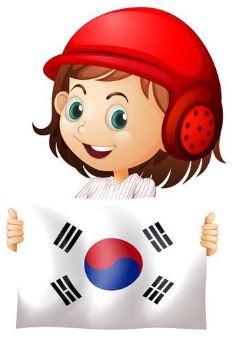 Linda chica y bandera de corea del sur