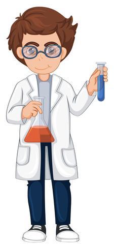 Scienziato con due bicchieri
