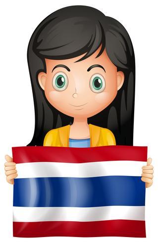 Chica con bandera de Tailandia