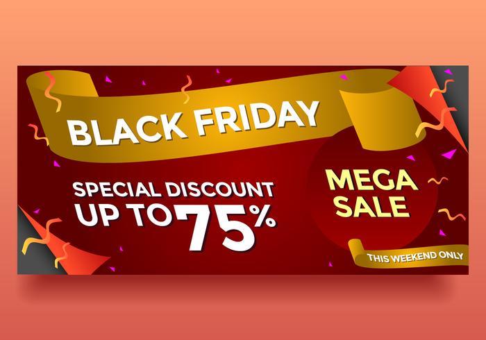 vector de banner de mega venta de viernes negro