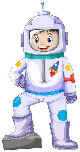 Pojke i rymdfärg ler