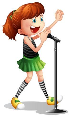 Ragazza che canta al microfono