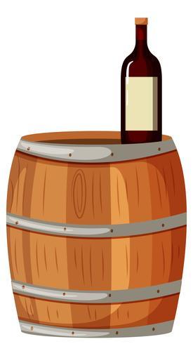 Berrel de madeira e vinho tinto