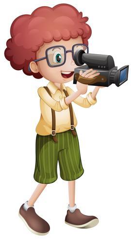 Jongen filmen met vdo camera